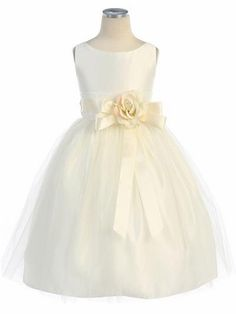 - Girls Dress Style Sleeveless Satin and Tulle Dress - Ivory Flower Girl Dresses - Flower Girl Dresses - Flower Girl Dress For Less Tulle Flower Girl, Ivory Flower Girl Dresses, Little Girl Dresses, Girls Dresses, Infant Dresses, Ribbon Flower, Baby Dresses, Tulle Dress, Satin Dresses
