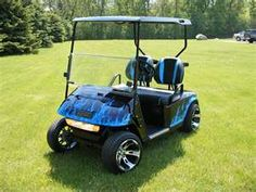 Custom Blue True-Flame Golf Cart