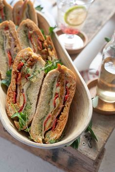 This brick-pressed ciabatta sandwich recipe is easy to make for a picnic or weekend lunch. Layered with flavourful Italian-style antipasto ingredients. Sandwich Recipes, Lunch Recipes, Picnic Sandwiches, Lunch Boxes, Ciabatta, Sun Dried, Antipasto, Italian Style, Pesto