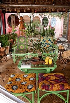 Eclectic patio with African textiles