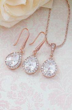 Rose Gold Lux Cubic Zirconia Tear drop Dangle Earrings Necklace Jewelry set