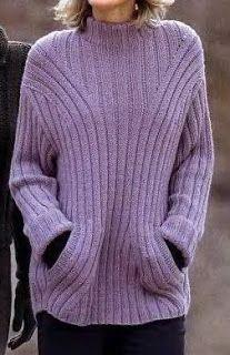 Мир хобби: Сиреневый пуловер с карманами (вязание спицами)