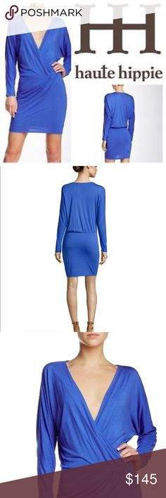 """Haute Hippie Cobalt Blue Faux Wrap Jersey Dress From Haute Hippie: Haute Hippie jersey mini dress in faux-wrap style. Size medium   Plunging surplice neckline.  Long sleeves.  Seam at waist creates blouson top.  Fitted skirt gathered at left.  Hem hits thighs.  Pullover style.  Modal.  Imported.  36"""" bust 29"""" waist 37"""" length Haute Hippie Dresses Long Sleeve"""