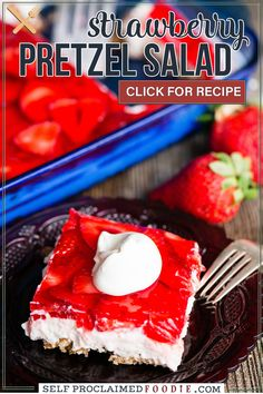 Strawberry Pretzel Dessert is the ultimate summer dessert, especially when you're looking for something sweet to take to potlucks! This tasty treat consists of a sweet pretzel crust, topped by a creamy layer, and finished off with a layer of fresh strawberries set in strawberry jello. Homemade Desserts, Healthy Dessert Recipes, Easy Desserts, Delicious Desserts, Potluck Recipes, Summer Recipes, Salad Recipes, Best Comfort Food, Comfort Foods