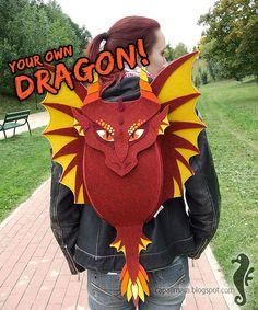 Backpack DRAGON make your own dragon funny cute por CapallMara