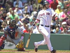 Game #34:  The Red Sox continued their streaky 2012 season by winning their 3rd consecutive game by hammering the Indians 12-1. They moved to 15-19 overall and are still in last place. Daniel Bard pitched in and out of trouble in his 6 innings, Jarrod Saltalamacchia drove in 5 runs, Daniel Nava drove in 3 runs and rookie 3rd baseman Will Middlebrooks batted in 2, one with the 4th homer of his 10-game big league career. Pictured:  Saltalamacchia singles in the 1st inning.  Gotta Love Will!