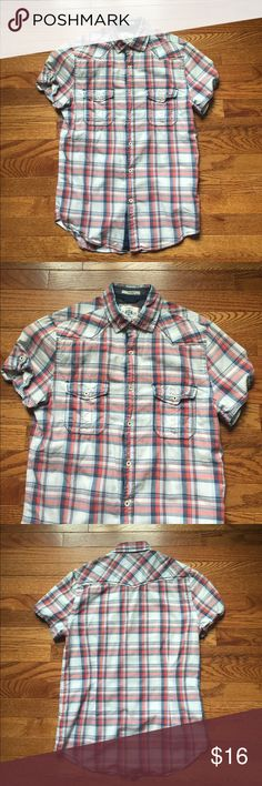 EVERYTHING MUST GO SALE! Express mens  shirt sz S Express mens short sleeve button down shirt, blue/red plaid, size small, 100% cotton, 2 button pockets on front Express Shirts Casual Button Down Shirts