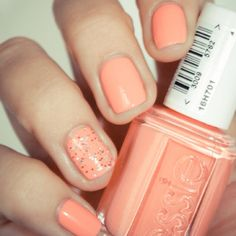 "essie ""tart deco,"" just painted my nails with this today! Cute Nails, Pretty Nails, Hair And Nails, My Nails, Peach Nails, Summery Nails, Bright Nails, Finger, Nail Design"