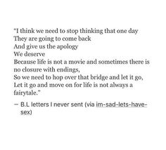 we need to over that bridge and let go