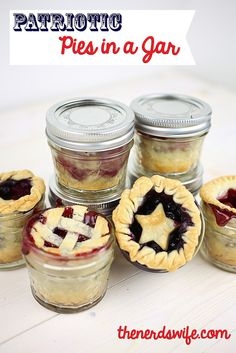 Patriotic Pies in a Jar for the Fourth of July #recipe #FourthofJuly #IndependenceDay #Blueberry #Cherry