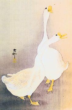 Japanese geese - By Ohara Koson Japanese Artwork, Japanese Prints, Japan Painting, Ink Painting, Chinese Painting, Chinese Art, Art Canard, Bird Outline, Ohara Koson