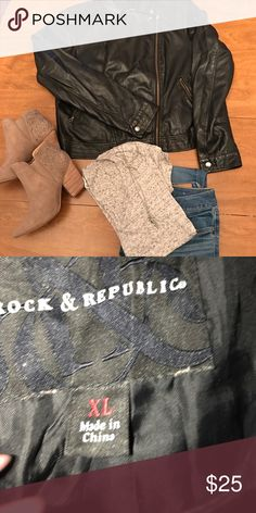Faux Leather Jacket EUC black motorcycle style jacket from Rock & Republic size XL. This is an awesome jacket both light weight and durable for all seasons. Some small scratches on the arms, but nothing altering the look or feel of the jacket. Complete any look with this statement jacket. Make me an offer, I can work with you 🤗. Rock & Republic Jackets & Coats