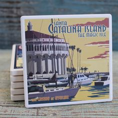 Catalina Island Casino Absorbent Beverage Coaster - Lantern Press Coasters from California Seashell Co