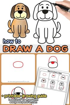 How to draw a dog - step by step drawing tutorial for a cute cartoon dog it's dog drawing time! let's learn how to draw a dog together with this easy to Dog Drawing For Kids, Dog Drawing Simple, Art Drawings For Kids, Easy Drawings, Animal Drawings, Art For Kids, Drawing Ideas, Dog Drawing Tutorial, Directed Drawing