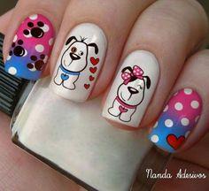 diseño de uñas cortas para niñas Ruby Nails, Wow Nails, Bow Nail Art, Nail Art Diy, Animal Nail Art, Valentine Nail Art, Super Cute Nails, Nail Games, Pastel Nails