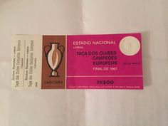 Celtic v Inter Milan - 1967 European Cup Final Match Ticket - UNUSED