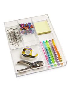 The Container Store makes a great acrylic tray with sections...great for desks!