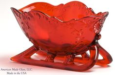 Red Glass Large Sleigh Candy Dish