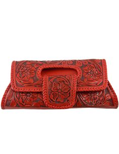 Hand Tooled Clutch In Red.