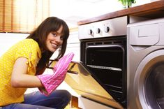 Non-Toxic Oven Cleaner: BAKING SODA & WATER! This is a super easy & cheap way to clean your oven. Just make a paste out of baking soda & water, cover the grease in your oven with it, let it sit over night, & clean up in the morning with paper towels!