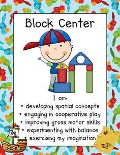 "Center signs for 51 centers with ""I am"" statements to show what students are learning as they play! Preschool Center Signs, Classroom Center Signs, Block Center Preschool, Preschool Centers, Preschool Curriculum, Preschool Learning, Preschool Activities, Montessori Education, Primary Education"