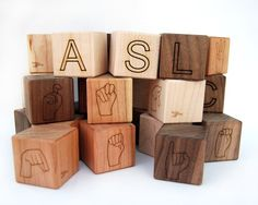 Awesome! ASL BLOCKS! Letters in English and the ASL alphabet. Great for Deaf Ed and gift for babyshowers.