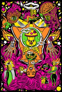 For all your hippie needs, I came out with 4 actual working black light posters where I truly tried to get inside the black light mindset. Illusion Kunst, Illusion Art, Modern Surrealism, Pop Surrealism, Psychedelic Drugs, Black Light Posters, Psy Art, Hippie Art, Lowbrow Art