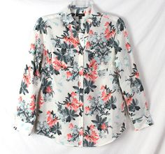 Nice Talbots New Blouse XS size Off White Floral Nantucket Lightweight Womens Top