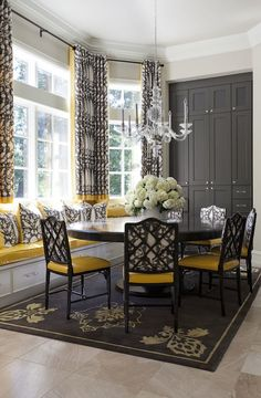 Yellow and Gray Dining Rooms - Transitional - dining room - Tobi Fairley