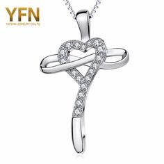 YFN Brand Geniuses 925 Sterling Silver CZ Crystal Love Heart Cross Shape Pendant Necklace for Women Fashion Jewelry