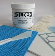 Canvas panel Molding Paste Palette knife, old credit card or scraper for spreading molding paste Stencil Textured items to impress into molding paste Craft Robo, Gelli Plate Printing, Gelli Arts, Plate Art, Art Journal Inspiration, Art Techniques, Art Tutorials, Art Lessons, Making Ideas