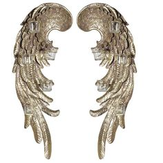 Mulberry Moon Pair Gold Wings Wall T-Light Holder. Description: Large Ornate Wall Sculpture Resin Gold Wings With Glass T-Light Holders. Place this over a Angel Wings Wall Art, Diy Angel Wings, Lantern Candle Holders, Candle Lanterns, Wing Wall, Contemporary Style Homes, Small Candles, T Lights, Gold Walls