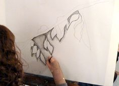 Amys process. Drawing negative space with water soluble graphite