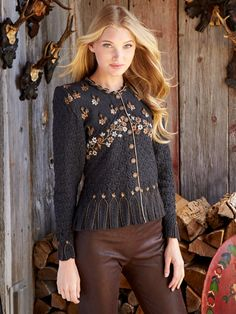 Autumn inspiration!  Hand knit and amazing embroidery - Maya Anthracite cardigan from Wolkenstricker  at Gorsuch