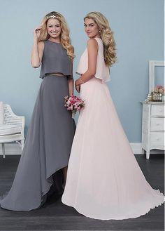 Lightsome Chiffon Jewel Neckline Hi-lo A-line Bridesmaid Dresses