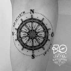 Tattoo / line & dot work / #compass #helm / Sweden 2014. By RO. http://www.instagram.com/ro_tattoo/