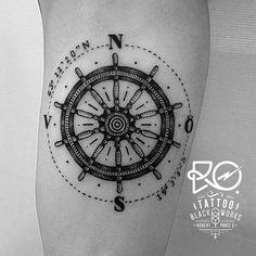 Tattoo / line & dot work / #compass #helm / Sweden 2014. By RO.http://www.instagram.com/ro_tattoo/