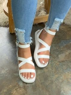 Sandals For Sale, Flat Sandals, White Strappy Sandals, Sandals Platform, Open Toe Flats, Chic Type, Ankle Strap, Casual, Style