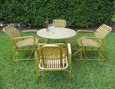 Retro Aluminum Patio Furniture vinyl strap patio furniture | stylish strap patio furniture