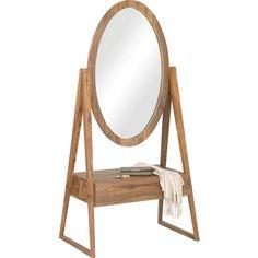 In diesen Standspiegel von AMBIA HOME werfen Sie komfortabel einen letzten prüfenden Blick auf Make-up und Outfit. Dank der Verarbeitung aus echtem Sheeshamholz begeistert der Rahmen mit bester Qualität und natürlicher Optik. Auf der praktischen Ablage finden Sie Platz für Accessoires oder den Lippenstift. Dieser Standspiegel ist eine echte Bereicherung für Ihren Flur!