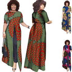 African Ladies Dashiki Wax Casual Straight Split Dress – Afrinspiration African Dresses Online, African Dresses For Women, African Fashion Dresses, African Women, Dashiki Dress, Ankara Dress, Kaftan, Traditional African Clothing, Kente Styles