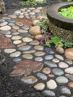 Create a walkway with gravel and river rocks and then adorn it with concrete stepping stones made from leaf molds.
