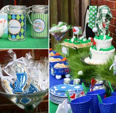 Courtney of Pizzazzerie truly hit a hole in one with this impressive and way-too-cute GOLF Themed Birthday Party! Golf Birthday Cakes, Adult Birthday Party, Dad Birthday, First Birthday Parties, Birthday Party Themes, Golf Party, 50th Party, Sports Party, Motto