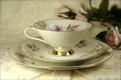Vintage Porcelain Three Piece Teacup and by TinyandBeautiful