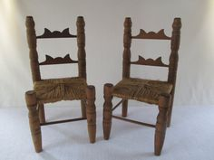 Miniature Ladder Back Dining Chairs Two Vintage by HobbitHouse