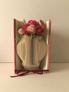 Flower Vase Folded Book Art Personalized Bridal Shower Centerpiece Unique Wedding Bouquet For Mom Birthday Paper Anniversary Hostess Gift by GiftwithTreasures on Etsy