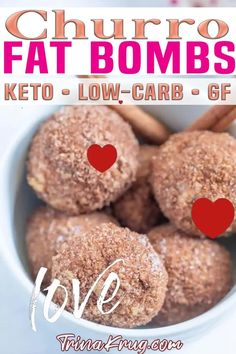 """These Keto churro fat bombs feature a rich cinnamon cream cheese filling rolled in a crunchy cinnamon-spiced """"breading"""" for an irresistibly amazing bite-sized treat! Have you ever had a churro? They're a traditional Spanish dessert that features a fried-dough pastry rolled in cinnamon and sugar, then served hot. While churros themselves aren't Keto-friendly, these Keto churro fat bombs are!   Trina Krug @trinakrug #bestketofatbombs #churrodesserts #churro #trinakrug Easy Gluten Free Desserts, Healthy Gluten Free Recipes, Gluten Free Snacks, Low Carb Desserts, Ketogenic Recipes, Keto Snacks, Ketogenic Diet, Low Carb Recipes, Real Food Recipes"""