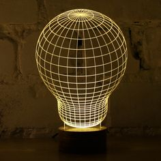 Studio Cheha in Tel Aviv, Israel is behind this innovative LED lamp that tricks your mind into thinking it's looking at a object. BULBING is a lamp created using wire-frame Wireframe, 3d Optical Illusions, Plexiglass, 3d Light, Light Bulb, Magic Light, 3d Studio, Traditional Lighting, Lumiere Led