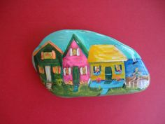 Beach+Houses+Rock+Handpainted+by+MJBousquet+on+Etsy,+$15.00