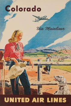Vintage United Airlines Travel Poster: Colorado